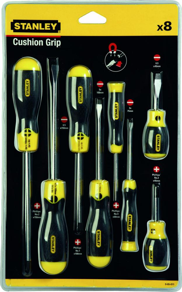 Stanley Cushion Grip (0-65-011) - набор отверток 8 шт. (Black/Yellow)