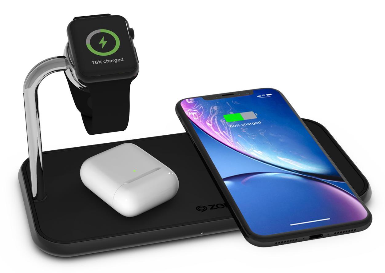 Беспроводное зарядное устройство Zens Dual+Watch Aluminium Wireless Charger ZEDC05B (Black)