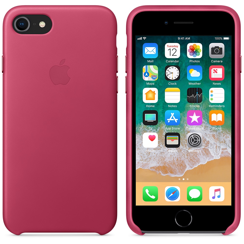 Чехол-накладка Apple Leather Case (MQHG2ZM/A) для iPhone 7/8 (Pink Fuchsia)