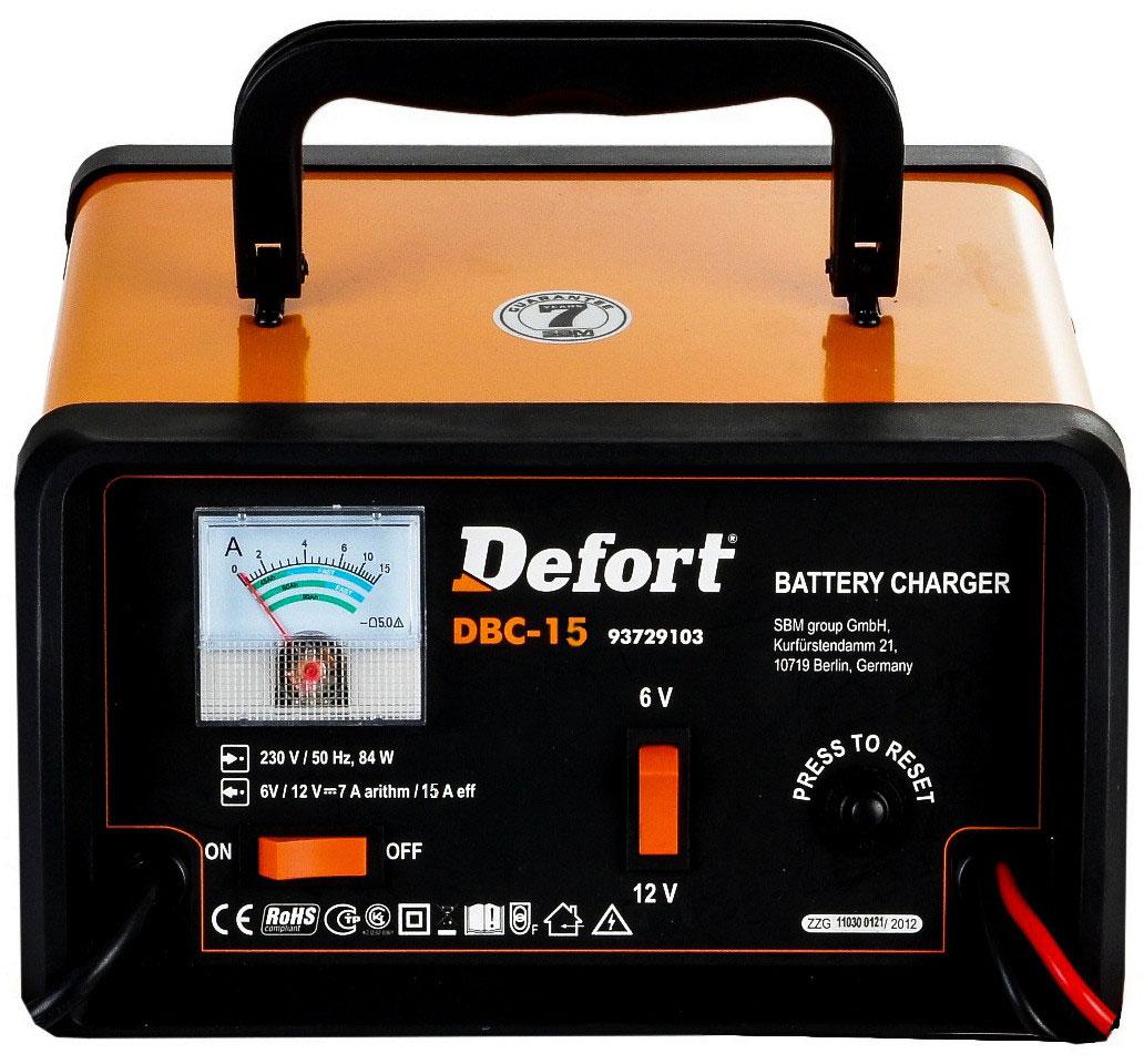 Defort DBC-15 (93728793) - зарядное устройство (Orange)Зарядные устройства для автомобиля<br>Зарядное устройство<br>