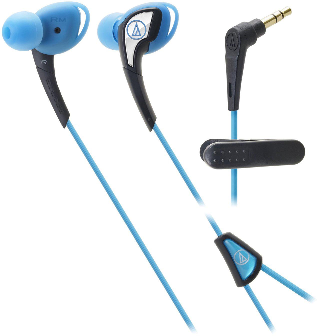 Audio-Technica ATH-SPORT2 (15118013) - спортивные внутриканальные наушники (Blue)Внутриканальные наушники<br>Спортивные внутриканальные наушники<br>