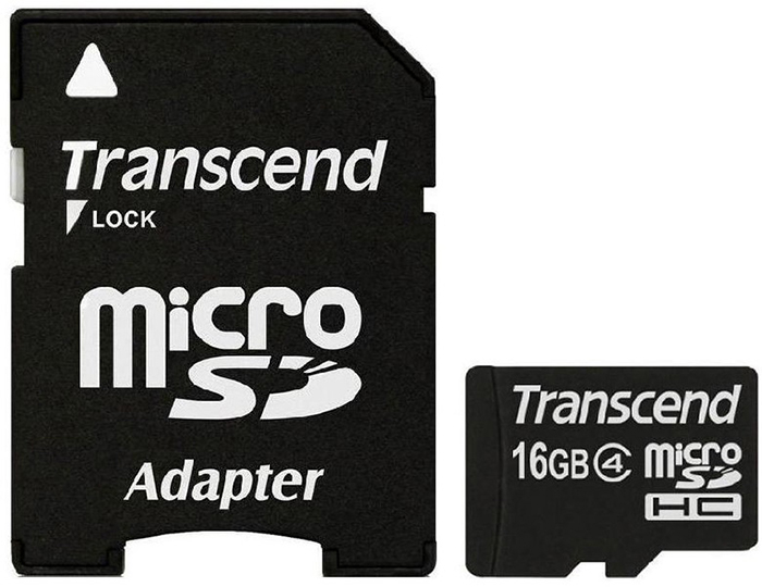 Transcend microSDHC Class 4 16Gb (TS16GUSDHC4) - карта памяти (Black) microsdhc kingston 4gb class 4 sdc4 4gbsp
