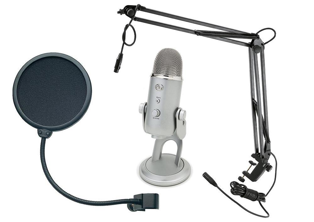 Blue Microphones Yeti + микрофонная стойка Konig & Meyer 23850-311-55 + поп-фильтр Konig & Meyer 23956-000-55