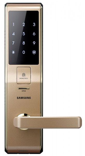Samsung SHS-H705 FBG/EN (5230) - биометрический дверной замок с ручкой (Gold)Умные дверные замки<br>Биометрический дверной замок<br>
