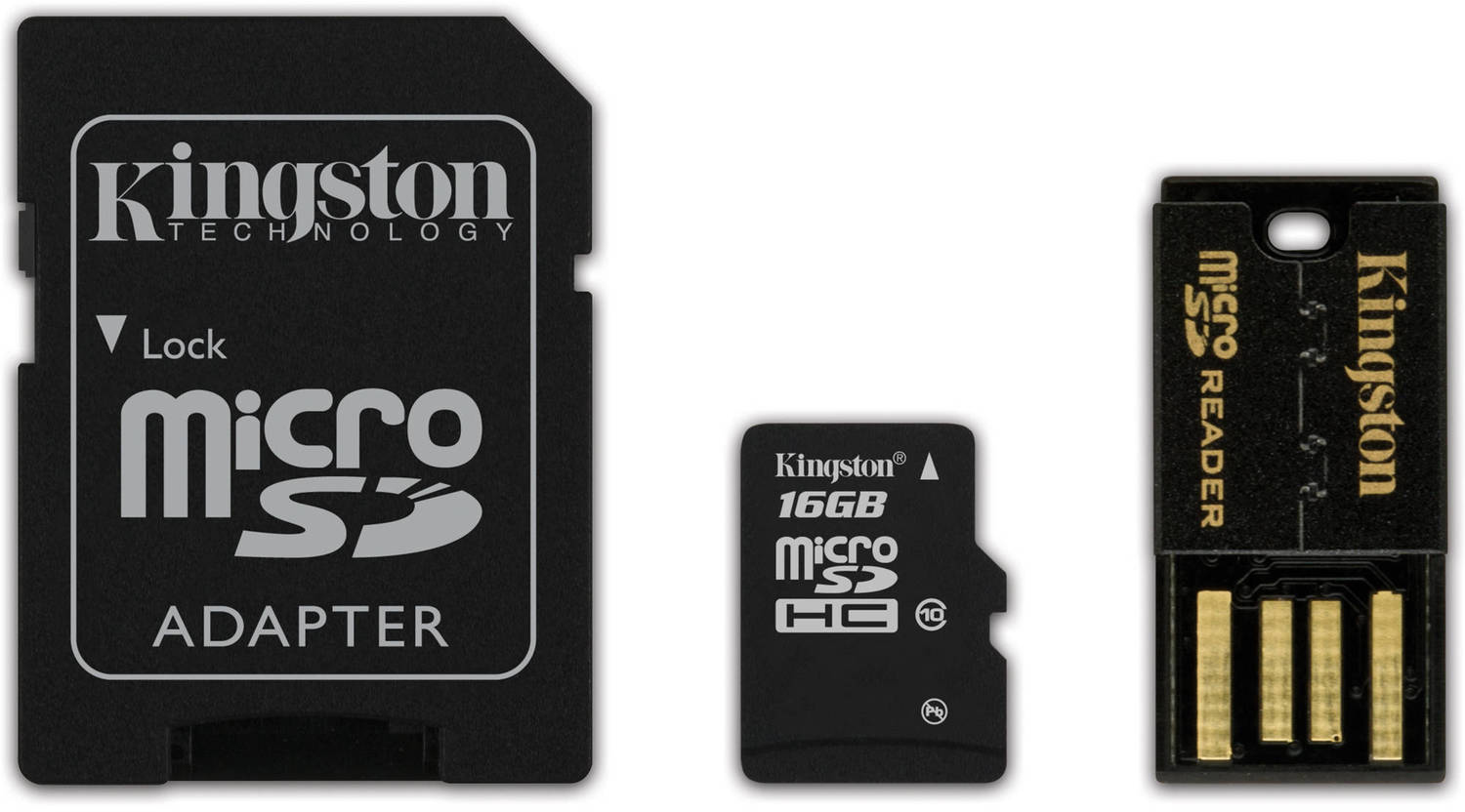 Kingston microSDHC 16Gb Class 10 U1 UHS-I (MBLY10G2/16GB) - карта памяти с адаптером и USB-картридером microsdhc kingston 4gb class 4 sdc4 4gbsp