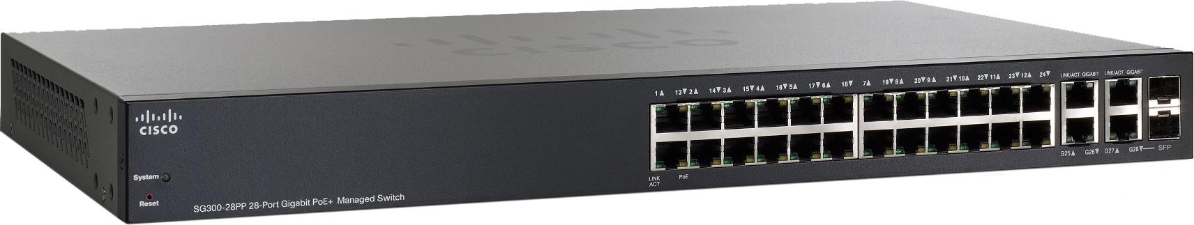 Cisco SG300-28PP - стекируемый управляемый коммутаторКоммутаторы<br>Стекируемый управляемый коммутатор<br>