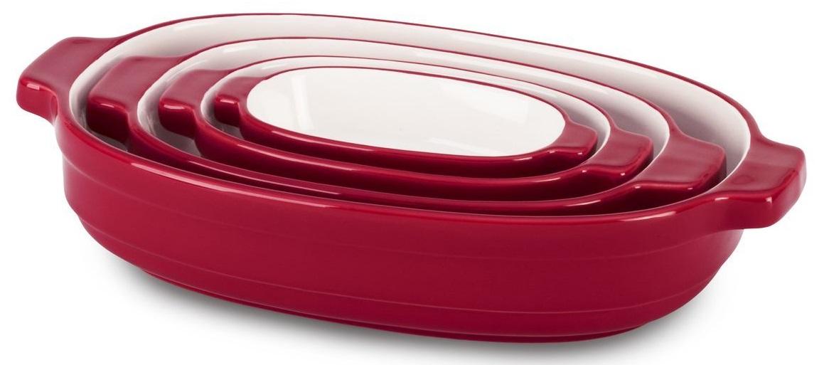 KitchenAid (KBLR04NSER) - набор из 4 керамических кастрюль для запекания (Red) kitchenaid форма для запекания 26х26 см черная