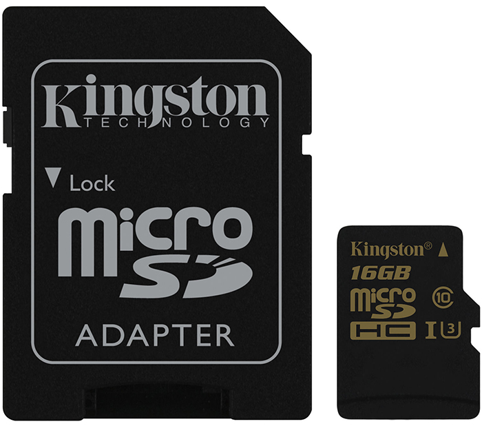 Kingston microSDHC Class 10 U3 UHS-I 16Gb (SDCG/16GB) - карта памяти с адаптером (Black)