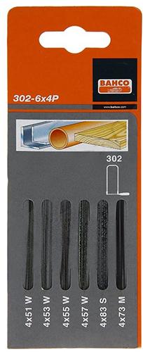 Bahco 302-6X4P - набор пилок для лобзика 6 видовПилки для электролобзиков<br>Набор пилок<br>