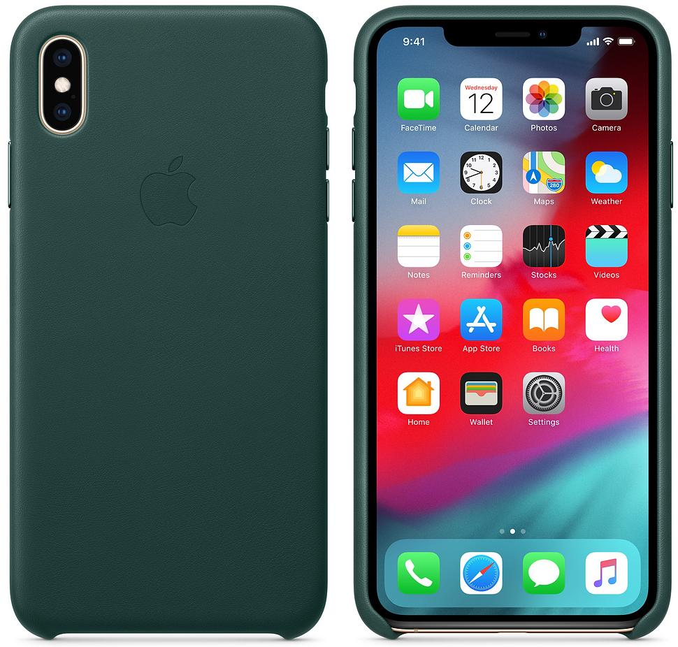 Чехол Apple Leather (MTEV2ZM/A) для iPhone Xs Max (Forest Green)
