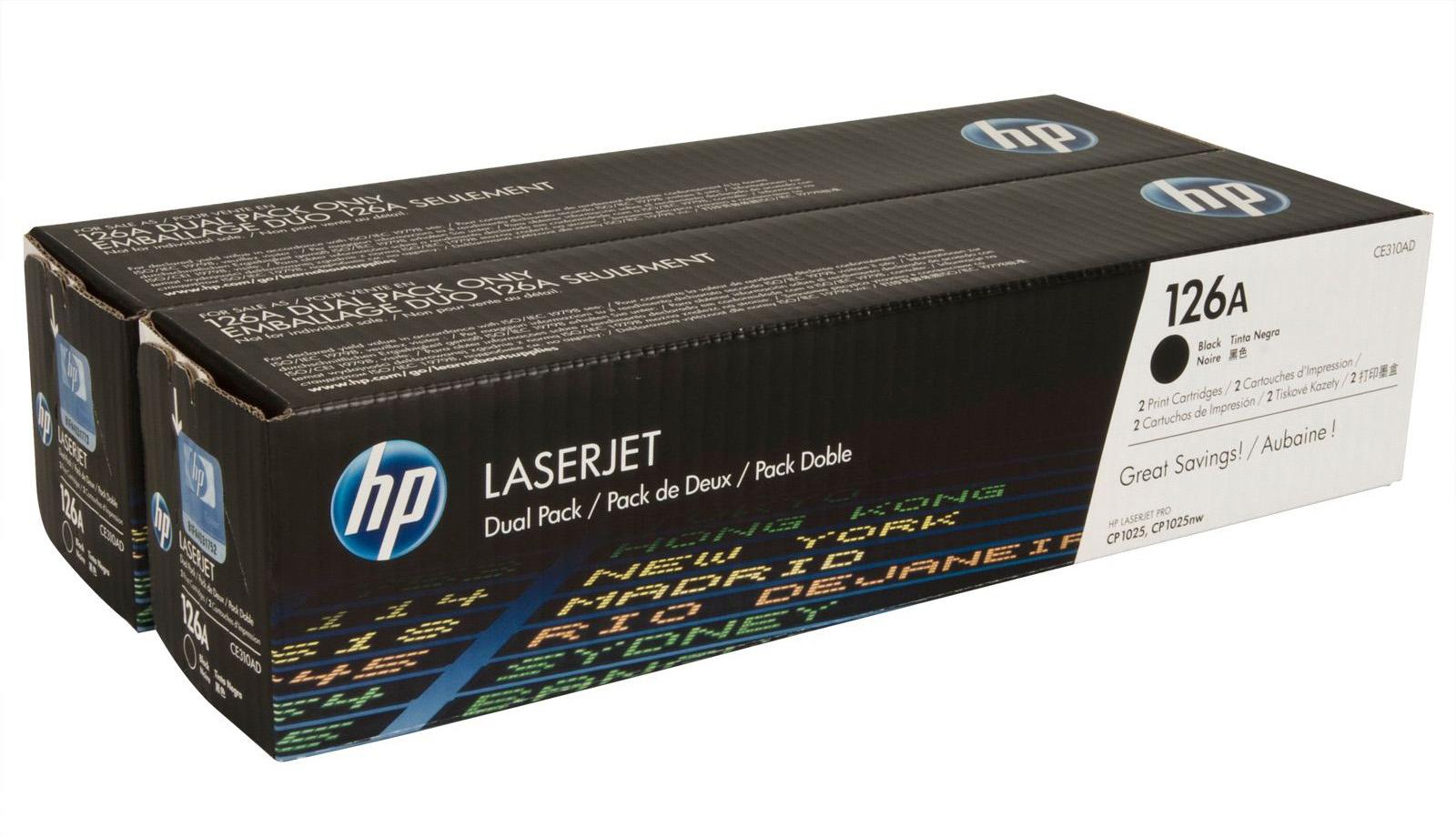 HP 126A (CE310AD) - двойной картридж для принтера HPLaserJet Pro CP1025 (Black)