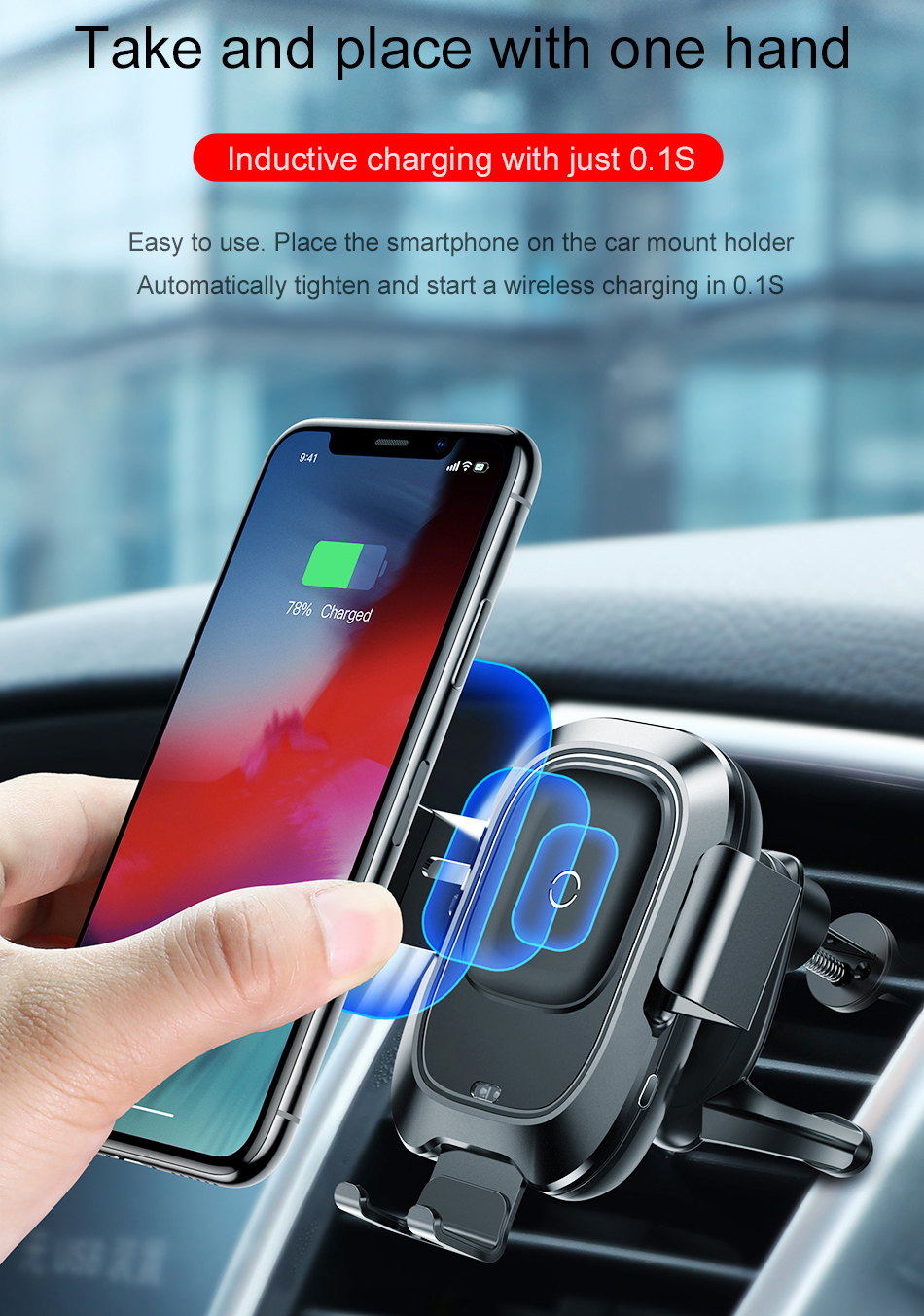 Автомобильный сенсорный держатель Baseus Smart Vehicle Bracket Wireless Charger (WXZN-01) для смартфона