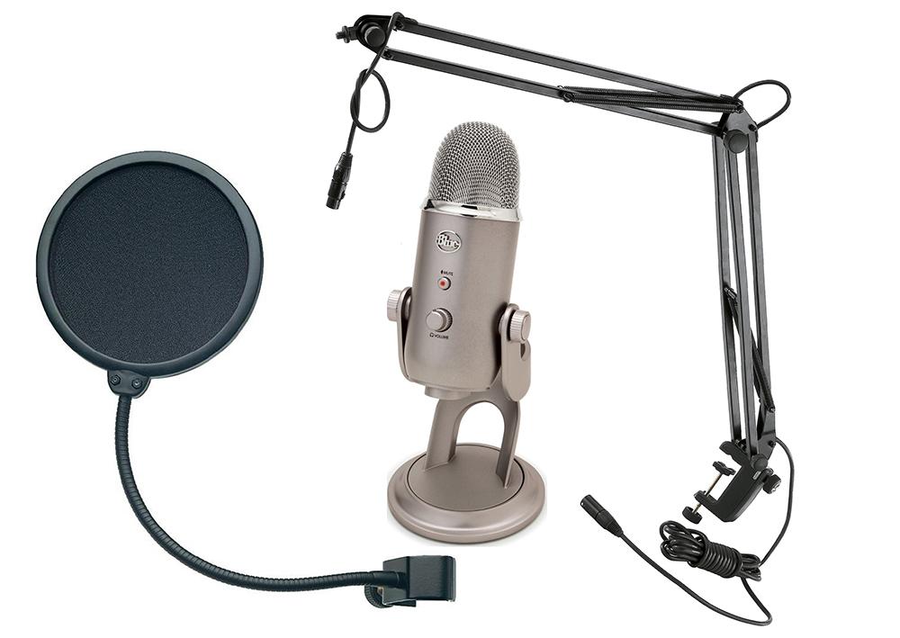 Микрофон Yeti Platinum + стойка Konig & Meyer 23850-311-55 + поп-фильтр Konig & Meyer 23956-000-55