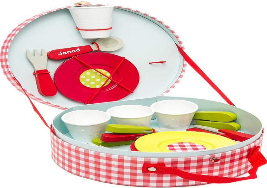 Janod Пикник (J06524) - набор посуды, 21 предмет (Red)Игрушки для ролевых игр для девочек<br>Набор посуды<br>