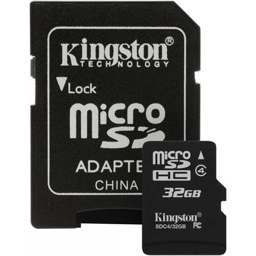 Kingston microSDHC Class 4 32Gb (SDC4/32GB) - карта памяти с адаптером (Black) карта памяти kingston 32gb microsdhc class 4 sdc4 32gb sdc4 32gb