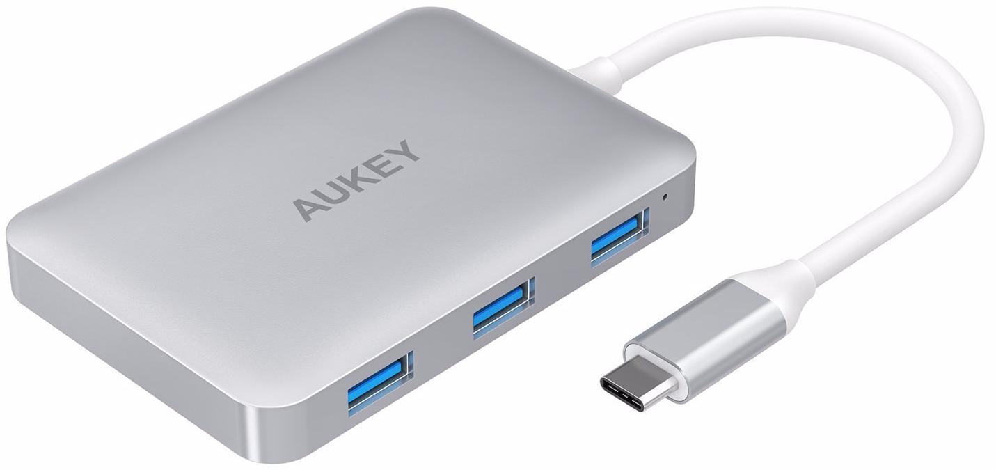 Aukey USB-C Hub with HDMI - мультипереходник 6 в 1 (White)