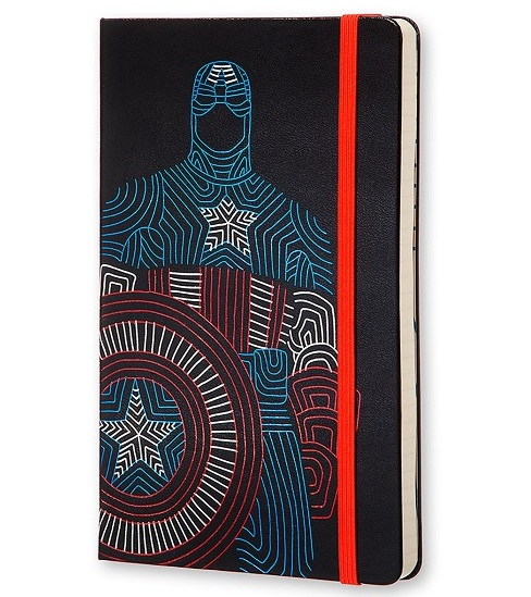 Moleskine The Avengers-CaptainA (LEAVQP060CAF) - записная книжка в линейку (Black)