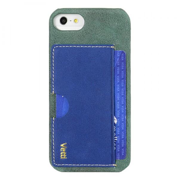 Vetti Prestige Series Leather Snap Card Holder (VAPIPO5LESCHLBVT1) - чехол для iPhone 5/5S/SE (Vintage Lake Blue/Vintage Shine Blue)