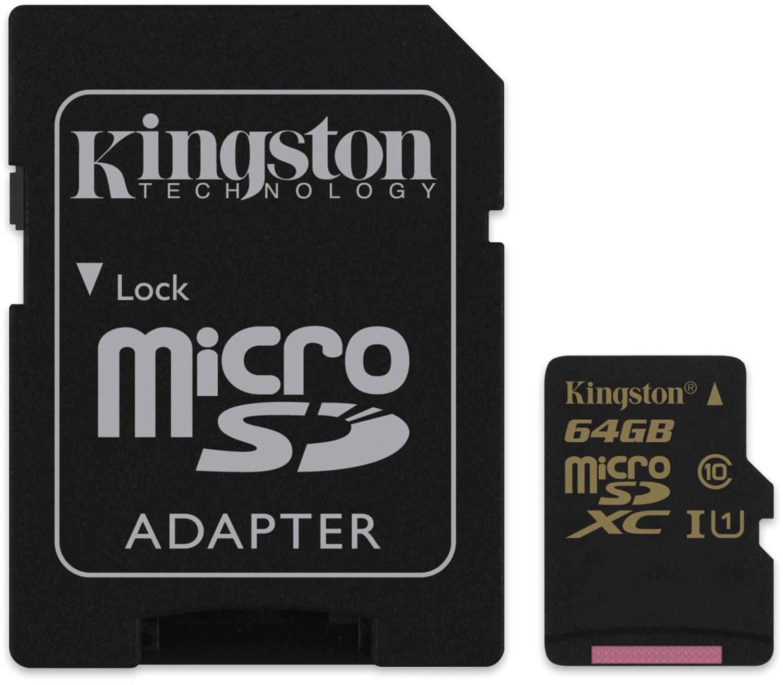 Kingston microSDXC 64Gb Class 10 U1 UHS-I (SDCA10/64GB) - карта памяти с адаптером карта памти kingston 64gb microsdxc class 10 uhs i u3 sd адаптер sdca3 64gb