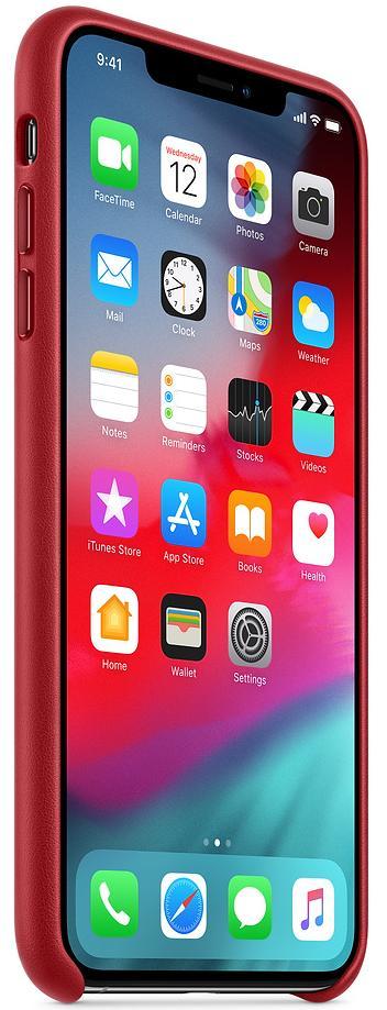 Чехол Apple Leather (MRWQ2ZM/A) для iPhone Xs Max (PRODUCT RED)