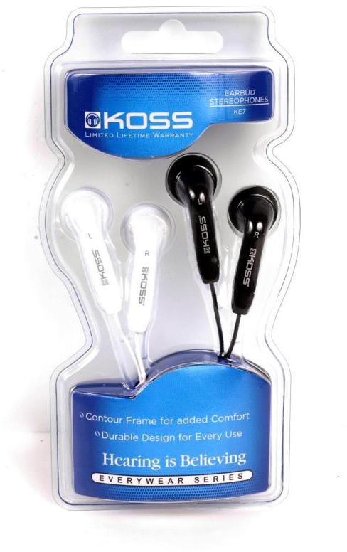 Koss KE7 - двое наушников-вкладышей (Black/White)