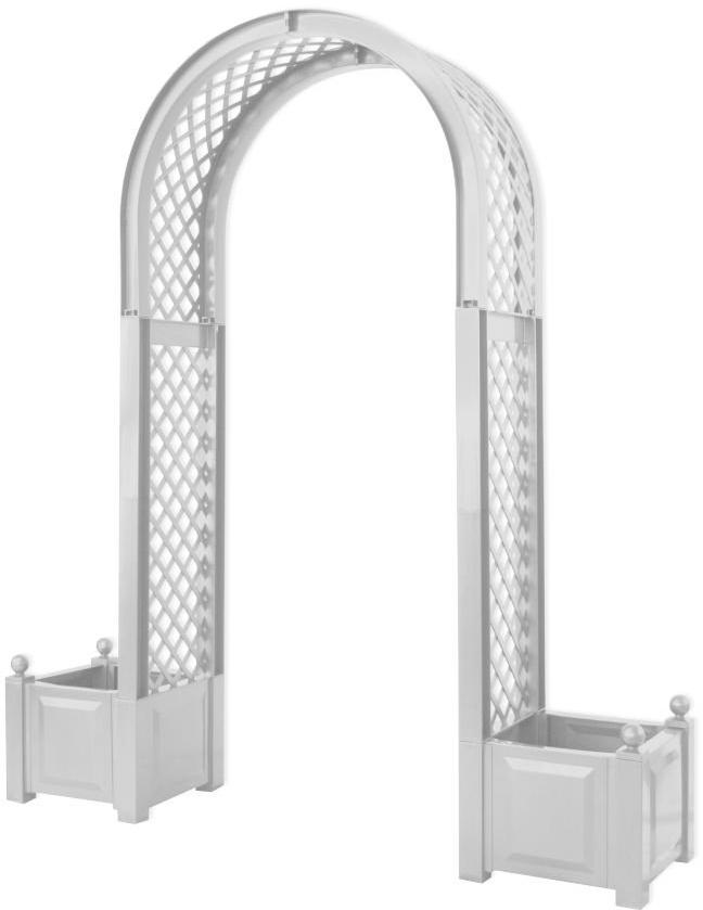 KHW 37601 - арка садовая с ящиками для цветов (White)