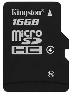 Kingston microSDHC Class 4 16Gb (SDC4/16GBSP) - карта памяти (Black)