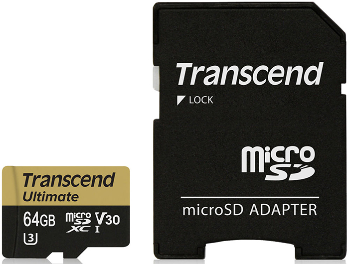 Transcend microSDXC Ultimate U3M UHS-I Video Speed Class 30 64Gb (TS64GUSDU3M) - карта памяти с адаптером (Gold)