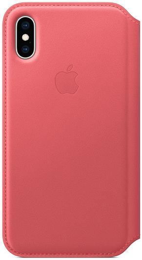 Чехол Apple Leather Folio (MRX12ZM/A) для iPhone Xs (Peony Pink)