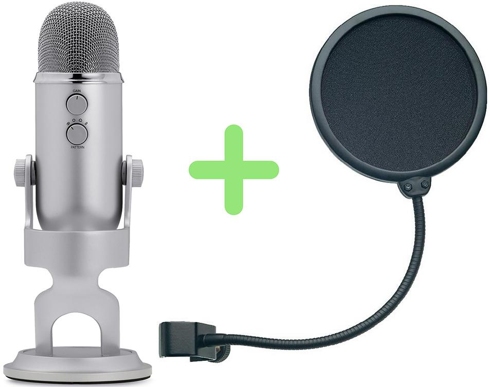 Микрофон Blue Microphones Yeti + поп-фильтр Konig &amp; Meyer 23956-000-55Проводные микрофоны<br>Микрофон:<br><br>Тип устройства: USB-микрофон<br>Тип микрофона: конденсаторный<br>Вид: ручной <br>Направленность: изменяемая  <br>Частота дискретизации: 48 кГц<br>Частотная характеристика: 15 Гц - 22 кГц<br>Требуемая мощность/расход: 5В 150мА<br>Скорость передачи д...<br>