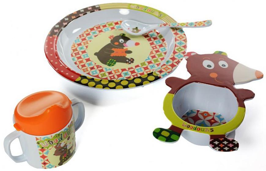 EbuLobo Мишка (04EB0017) - детский набор посуды из 4 предметовТермосумки, ланчбоксы, термосы<br>Детский набор посуды<br>