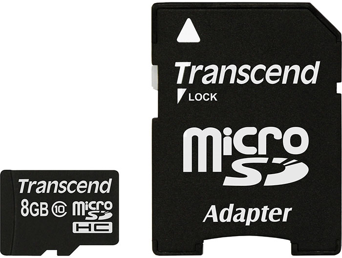 Transcend microSDHC Class 10 200x 8Gb (TS8GUSDHC10) - карта памяти с адаптером (Black)