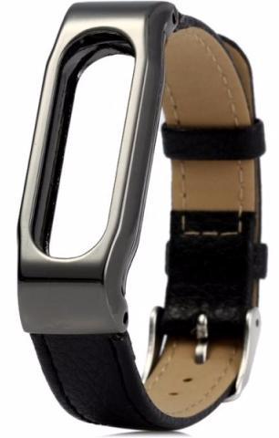 Xiaomi Leather Wristband - сменный ремешок для Xiaomi Mi Band (Silver/Black)Трекеры активности и шагомеры<br>Сменный ремешок<br>