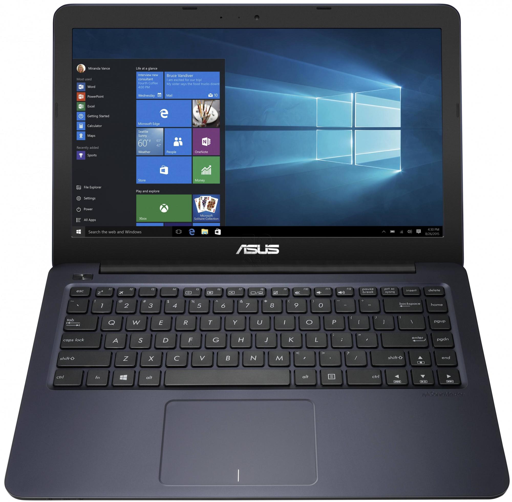 Ноутбук Asus E402SA-WX016T 14.0 Intel Celeron N3050 1.6Ghz, 2Gb, 32Gb SSD (90NB0B63-M00780) Black ноутбук asus k751sj ty020d 90nb07s1 m00320