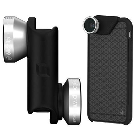 Объектив Olloclip 4-in-1 Lens OC-0000113-EU (Silver Lens/Black Clip) + чехол OlloCase for iPhone 6 Plus (Matte Smoke/Black)