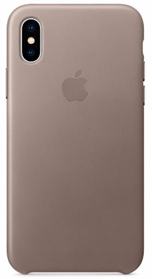 Чехол Apple Leather Case MQT92ZM/A для iPhone X (Taupe)