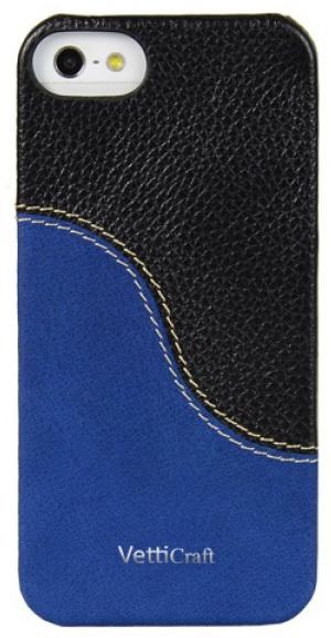 Vetti Craft Prestige LeatherSnap (IPO5LESBKLCSBVT) - чехол для iPhone 5 (Black & Vintage Shine Blue)