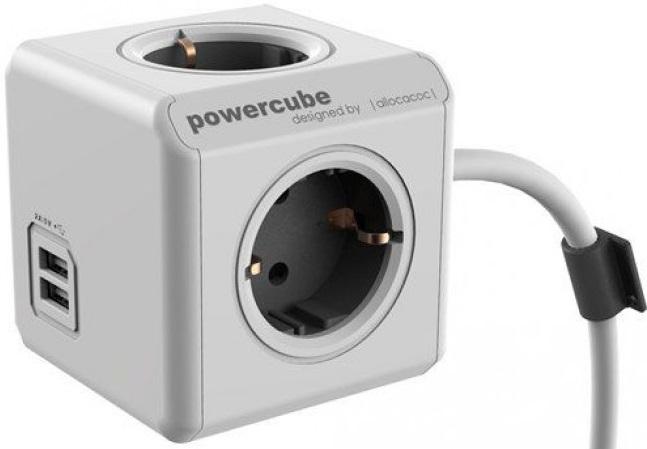Купить Allocacoc PowerCube Extended USB (1407/DEEUPC) - сетевой удлинитель (Grey)