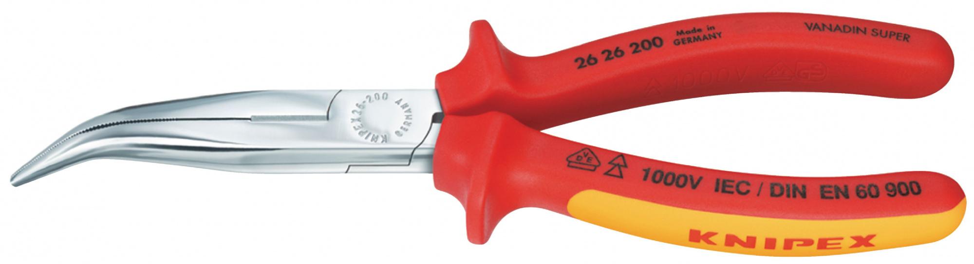 Knipex KN-2626200 - длинногубцы с резцомСлесарные инструменты<br>Длинногубцы с резцом<br>