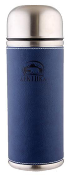 Арктика 0,7 л (108-700) - термос с узким горлом и кожаной вставкой (Синий)