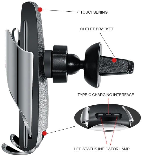 Беспроводная зарядка-автодержатель Wiwu Wireless Charger Magic Clip S5 (Black)