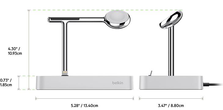Док-станция Belkin Valet Charge Dock для Apple iPhone/Apple Watch (Silver)