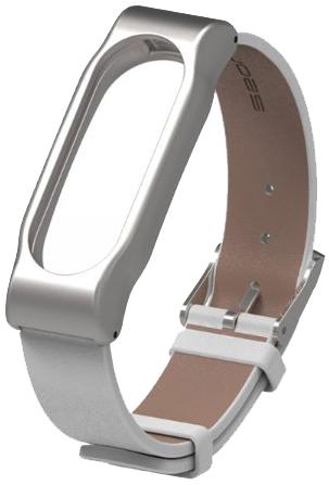 Xiaomi Leather Wristband - сменный ремешок для Xiaomi Mi Band 2 (Silver/White)