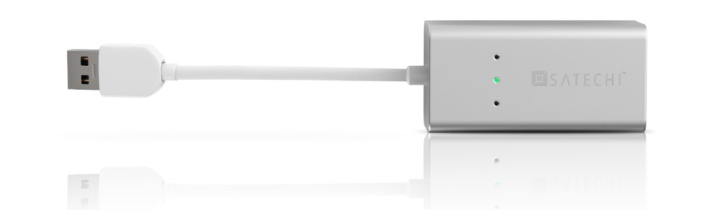 Satechi 1 Port USB 3.0 + Ethernet Lan Network (B00QQV274O) - алюминиевый USB-Хаб для Mac