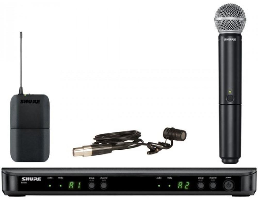 Shure BLX1288E/W85 K3E (A045800) - радиосистема с петличным микрофоном WL185 и ручным передатчиком SM58