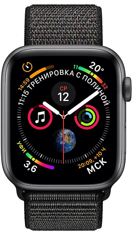 Умные часы Apple Watch Series 4 44 mm with Sport Loop (Space Grey/Black)