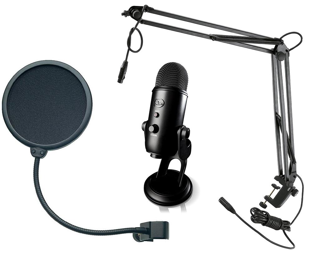 Микрофон Yeti Blackout + стойка Konig & Meyer 23850-311-55 + поп-фильтр Konig & Meyer 23956-000-55