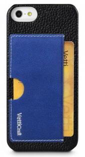 Vetti Prestige Series Leather Snap Card Holder (IPO5LESCHBKLC1) - чехол для iPhone 5/5S/SE (Black/Vintage Shine Blue)
