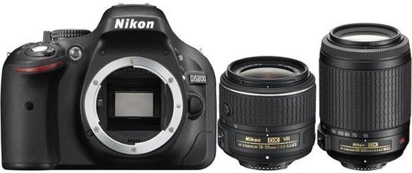 Фотоаппарат Nikon D5200 Kit (D5200 Body Black + 18-55 VR II Black + 55-200 VR II Black)