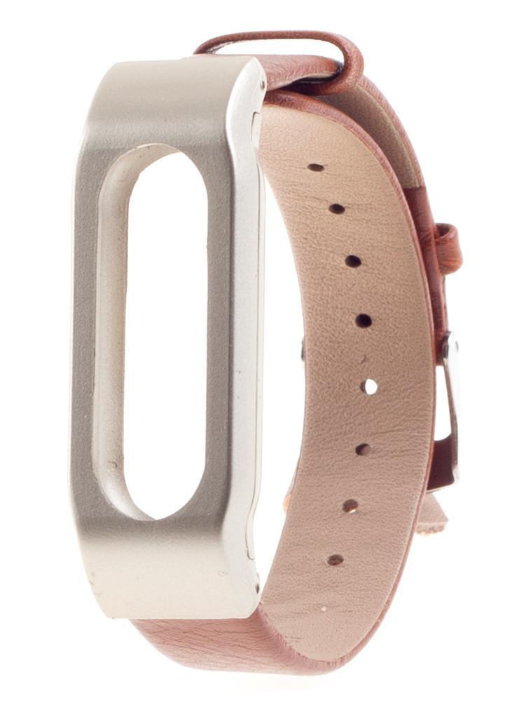 Xiaomi Leather Wristband - сменный ремешок для Xiaomi Mi Band (Silver/Brown)